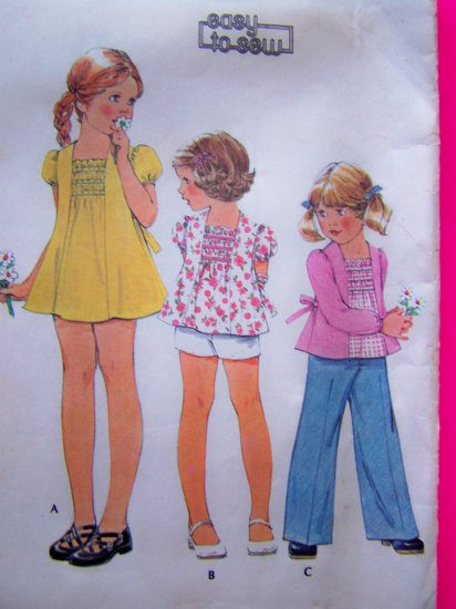 1970's Vintage Sewing Pattern Girls Hippie Dress Tie Back Boho Top Sz 5 Shorts Pants 4527