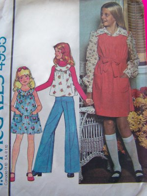 70's Girls Vintage Sewing Pattern Pullover Dress Jumper Hippie Shirt Sundress 4955