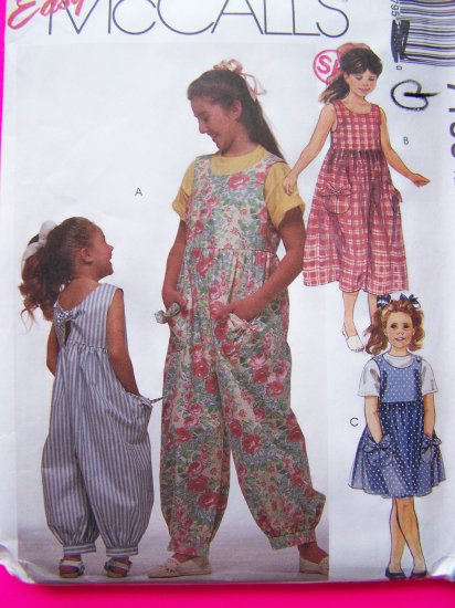 Girls Jumpsuit & Sundress Jumper Dress Sewing Pattern Easy McCall's 7185