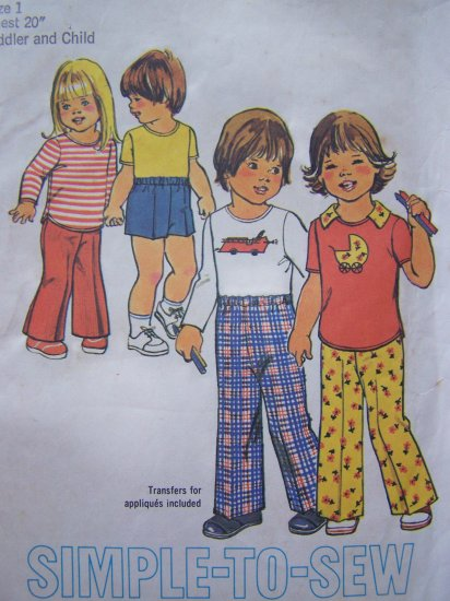 Vintage Sewing Pattern Children's Pants Shorts Pullover Shirt Infant Boy Girl Sz 1 Toddlers # 7061