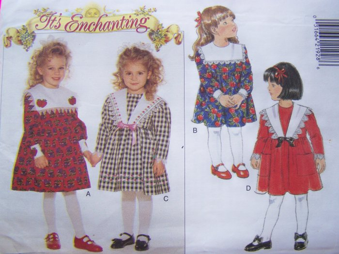 Uncut Girls 5 6 6 X Easter Empire Waist Dress Sailor Style Collar Sewing Pattern 4103