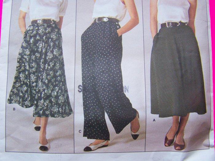 1980's Ralph Lauren Flared Skirt & Dress Pants Slacks Trousers Vintage Sewing Pattern Vogue 1723