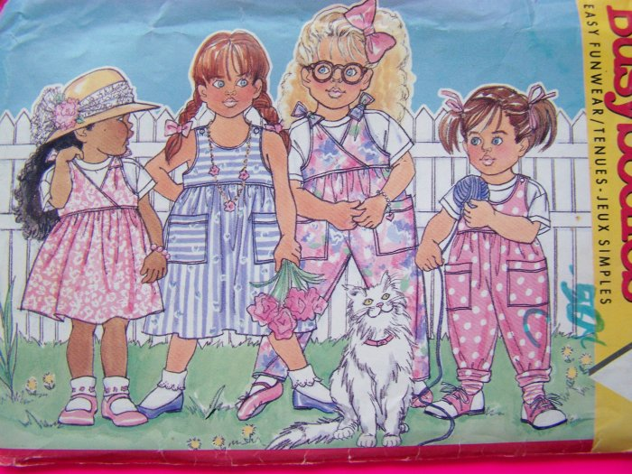 Girls Dirndl Skirt Dress Pull On Jumper Overalls Top Vintage Sewing Pattern 3789