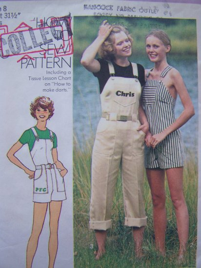 70's Vintage Sewing Pattern Jumpsuit Overall Shorts Onesie Romper Size 8 Simplicity 7329