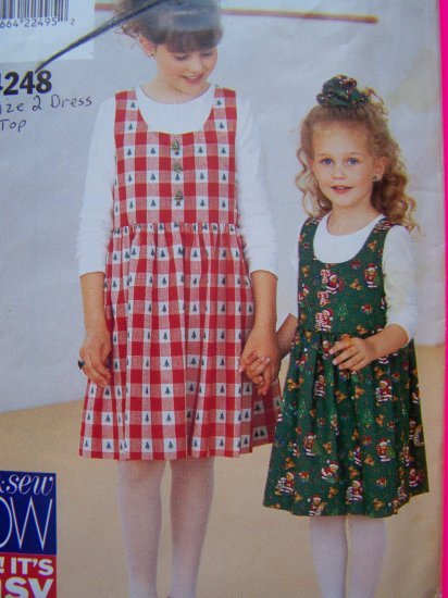 Girls Toddler Size 2 Jumper Dress Sundress Shirt Easy Sewing Pattern Butterick 4248