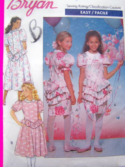 Girls Bryan Fancy Party Dress Full or Slim Skirt Dropped Waist Puff Ruffle Bow Sewing Pattern 4769