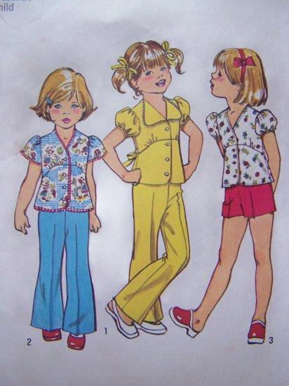 Girls 5 Vintage Sewing Pattern Empire Shirt Babydoll Puff Flared Top Bell Bottom Pants Shorts 6419