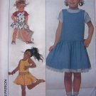 80's Vintage Sewing Pattern Girls 3 4 5 Jumper Dress Drop Waist Sundress Rick Rack Eyelet Trim 9271