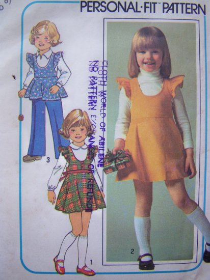 Vintage Sewing Pattern Girls 5 6 Empire Jumper Dress Ruffle Puff Sleeve Pants 7632