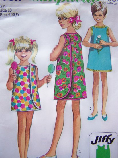 60's Girls 10 Vintage Sewing Pattern Wrap Around Dress Mod Sundress Cover Up Simplicity 7617