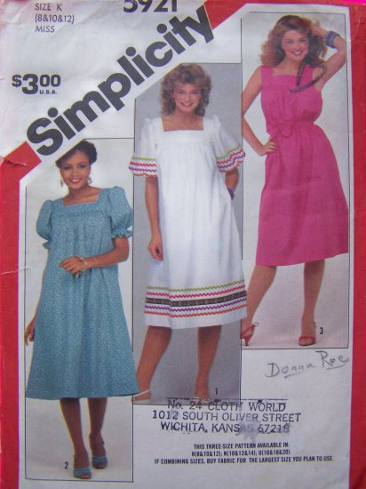 Vintage Sewing Pattern Pullover Dress Sz 8 10 Tent Sundress Puff Sleeves 5921