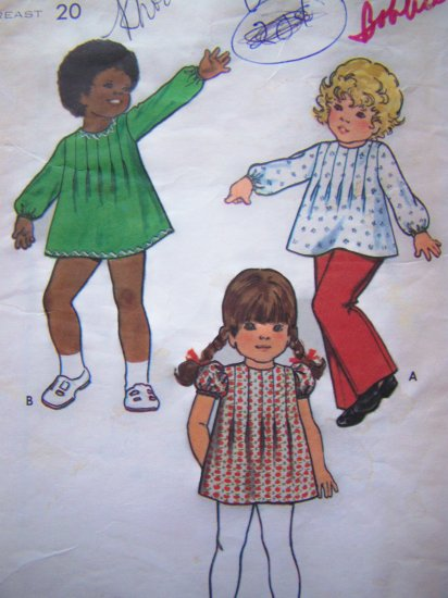 Vintage Sewing Pattern Girls 1 Toddler Dress or Top Front Tucks Butterick 6968