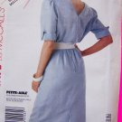 Vintage Sewing Pattern Dress Straight Pleated Vent Skirt Sz 6 8 10 Back V Self Belt 4153