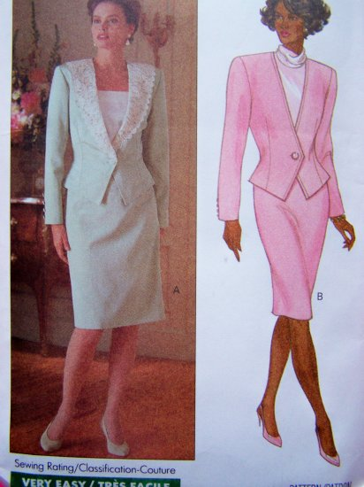 80's Vintage Sewing Pattern Unlined Jacket Slim Skirt Suit Sz 12 14 16 Butterick 4468
