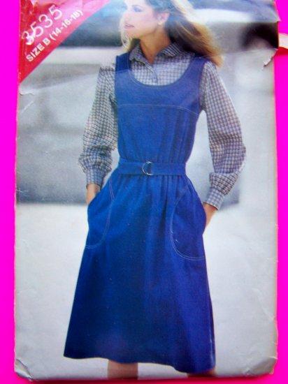 Vintage Sewing Pattern Jumper A Line Dress Sundress Sz 14 16 18 Butterick 3535