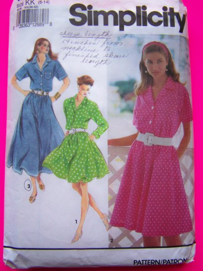 Misses Dress Full Flowing SKirt Shirtwaist Long or Short Sleeves Simplicity Sewing Pattern 7874