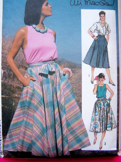 Vintage Sewing Pattern 80's Full & Half Circle Skirt Sz 6 8 10 Skirts Simplicity 6895