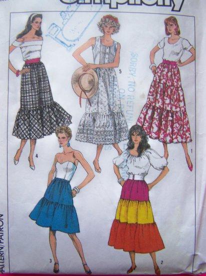 Vintage Sewing Pattern Gypsy Skirt Tiered Petticoat Flowing Layered Ruffles 14 16 Medium M 8088
