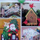 Plastic Canvas Corner Pattern Magazine Christmas Dec 1990 Bird House Clock Stained Glass Ornaments