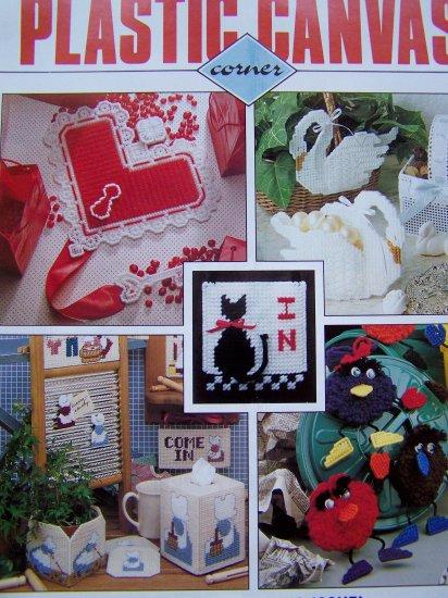 Plastic Canvas Corner Patterns Magazine February 1991 Baby Bootie Vase, Bath Swan