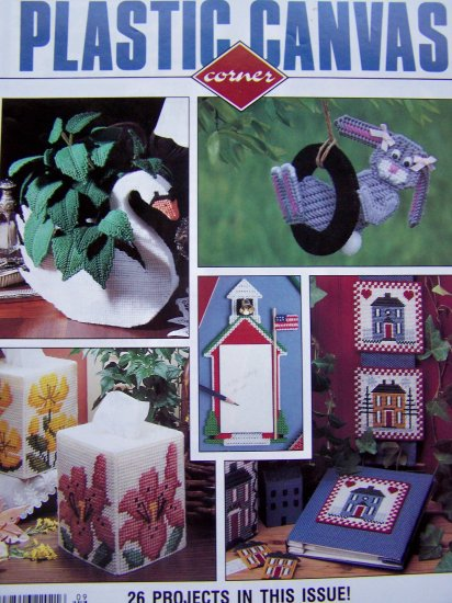 Plastic Canvas Pattern Magazine September 1991 Swan Planter Hair Barrettes Sundrops Lilies