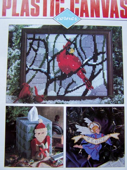 20 Plastic Canvas Patterns 1992 Victorian Rug, Christmas, Gingerbread House, Menorah, Santa, Angel