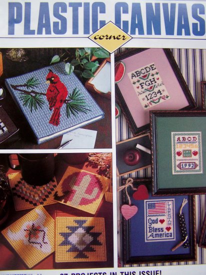 27 Plastic Canvas Patterns 90's Dollhouse Kitchen Furniture, Stork, Coasters/Book Cover March 92