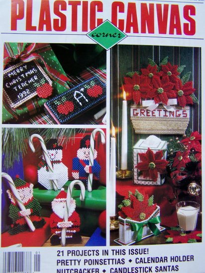 21 Plastic Canvas Patterns Backgammon Game Set Christmas Poinsettias Santa Nutcracker 1/93