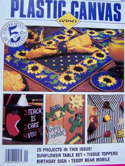 25 Plastic Canvas Patterns Fleur de lis Diamond Ornaments Bear Mobile Sunflower Table Set 9/94