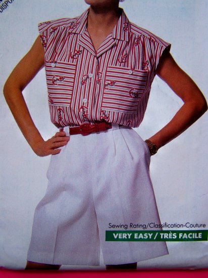 80s Vintage Sewing Pattern High Waisted Shorts Cap Sleeve Button Blouse Patch Pockets Shirt B 6404