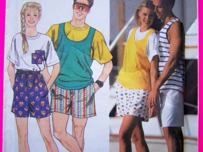 Womens Mens Boys Girls Boxer Shorts T Shirt Tank Top Sizes M L XL Sewing Pattern 9720