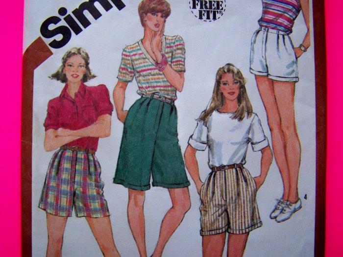 80's Vintage Sewing Pattern Set Of High Waist Sz 10 Short Shorts Regular Long Length S5897