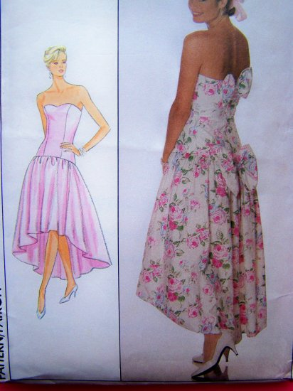 80's Retro Prom Dress Strapless Princess Boned Shaped SKirt Bow Back Vintage Sewing Pattern 9011