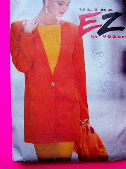 Easy Vogue Sewing Pattern Long Jacket Fitted Dress Plus Size 18 20 22 EZ # 8276