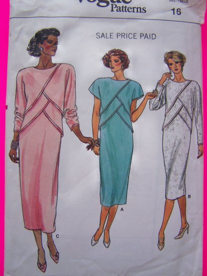 80's Vogue Vintage Sewing Pattern Dress Loose Straight Sz 16 Front Overlays V9212
