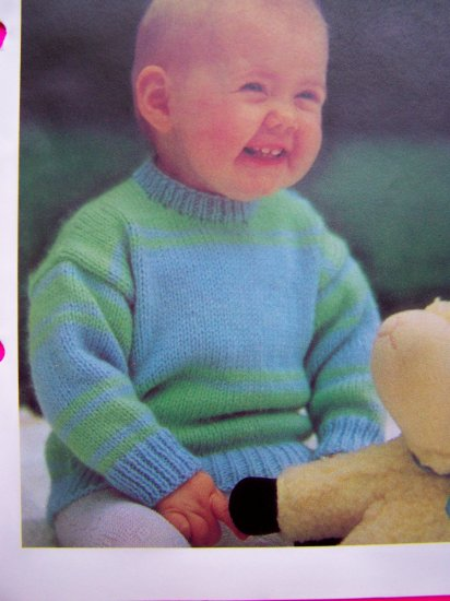 USA 1 Cent S&H 80's Vintage Knitting Pattern Babies Toddlers Striped Sweater Baby D14