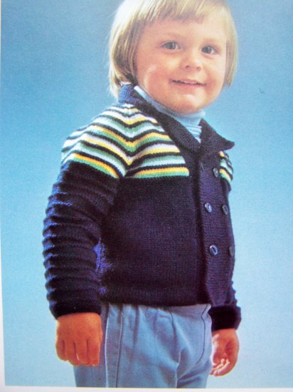 Vintage Toddler's Jacket Boy's Knitting Pattern Pk3  USA 1 Cent Shipping