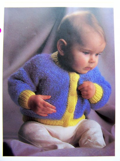 Vintage Babies & Toddlers Round - Necked Cardigan Sweater Knitting Pattern D23