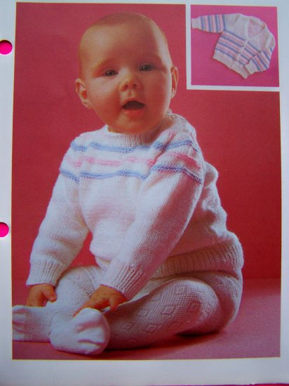 S&H 1 Cent USA Pullover Cardigan Sweater Babies Twin Set Baby's Vintage Knitting Pattern