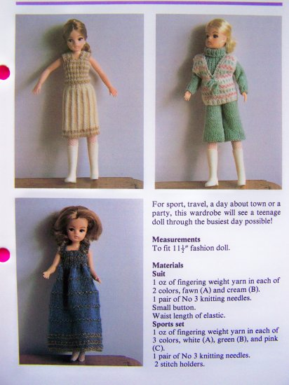 Vintage KNitting Pattern Teenage Doll's Wardrobe Doll Clothing Outfits