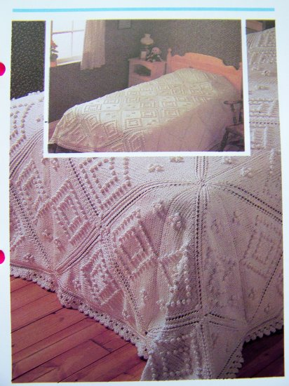 USA 1 Cent S&H Vintage Heirloom Knitting Pattern Cotton Bedspread Single Twin Double King Size
