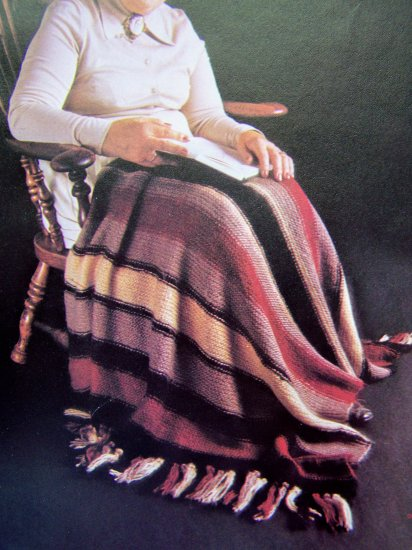 USA 1 Penny Shipping Striped Lap Robe Blanket Vintage Knitting Pattern