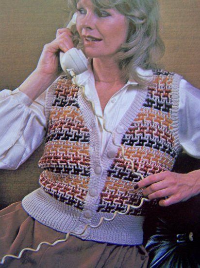 USA 1 Cent S&H Multi Colored Vest Button Sweater Vintage Knitting Pattern Weaving Stitch