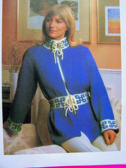 USA S&H 1 Cent Sweater Jacket Tibetan Motif Bell Sleeve Vintage Knitting Pattern Bust 34 36 38