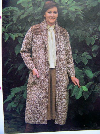 USA 1 Cent S&H Wrap Around Coat With Roll Collar Knit Sweater Vintage Knitting Pattern
