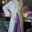 USA 1 Cent S&H Sweater Coat with Cable Knit Yoke Vintage Knitting Pattern Bust 32 34 36 38