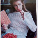 USA 1 Cent Shipping Misses Lacy Sweater Vintage 80&#39;s Knitting Pattern Bust 32 34 36