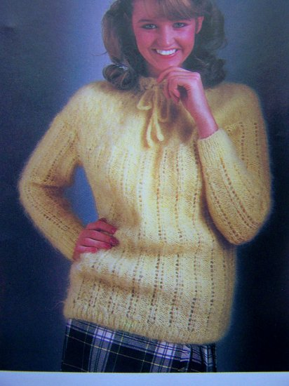 USA 1 Cent S&H Victorian Yoke & Collar Tie Neck Sweater Vintage Knitting Pattern Bust 34 36 38 40