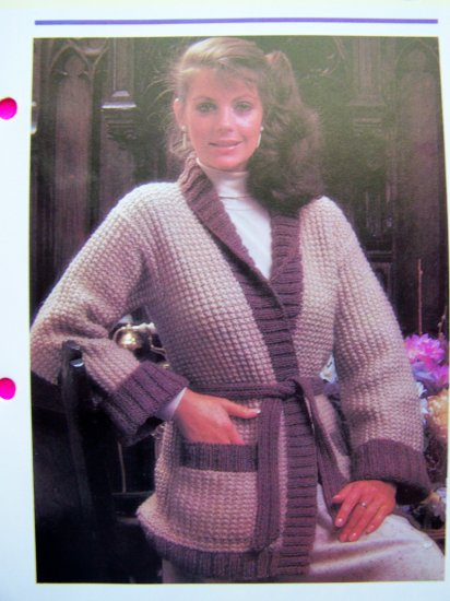USA 1 Cent S&H Textured Wrap Sweater Vintage Knitting Pattern Bust 32 34 36 38