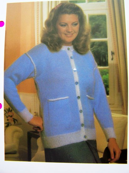 USA 1 Cent S&H Vintage knitting Pattern Plus Size Cardigan Sweater with Braided Trims